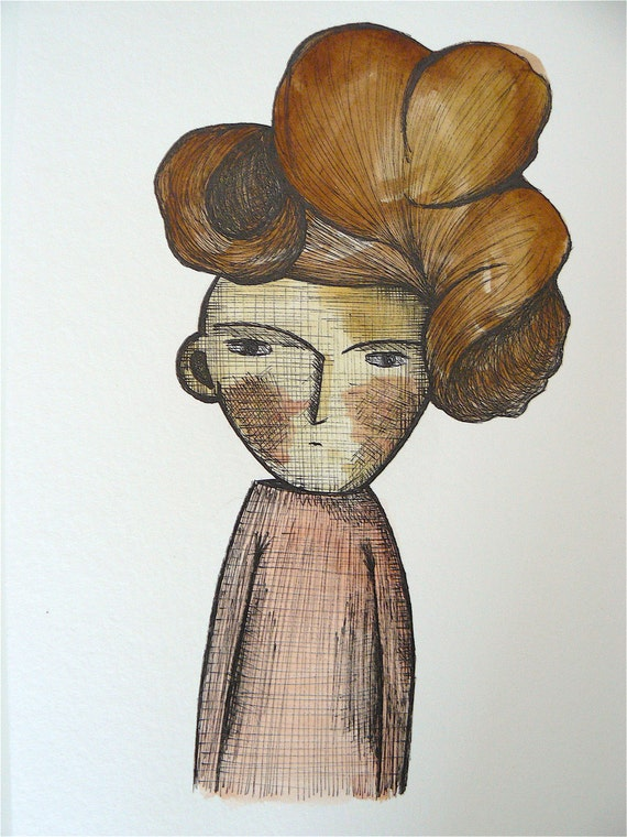Woman portrait on watercolor and black ink on paper 370 g