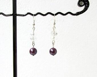 Purple Pearl and crystal bridesmaids earrings, handmade in the UK