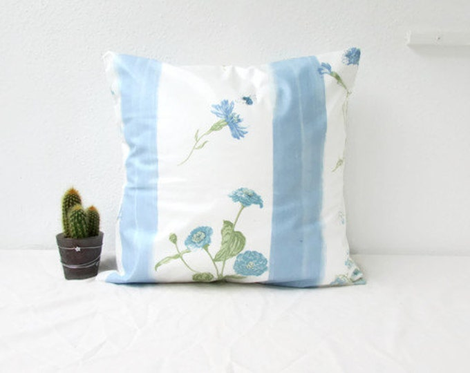 Blue floral pillow cover, 16 inches square, handmade in the UK