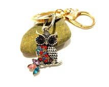 Colorfuly Owl Purse Charm. Owl Keychain, Rhinestone Keychain, Rhinestone Owl Pendant, Beaded Keychain, Gold Tone Key Ring, Gold Key Fob