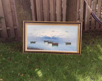 SALE Large Gustavo Bardi Boat Ship Painting 24x48