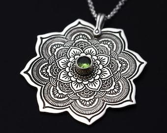 Sterling Silver Mandala Pendant Necklace, Statement Necklace, Birthstone Necklace, Spiritual Jewelry, Buddhist Jewelry