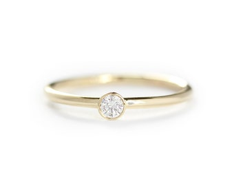 Round Diamond Engagement Ring In 14k Solid Gold,Simple Engagement Ring,Thin Band Diamond Ring