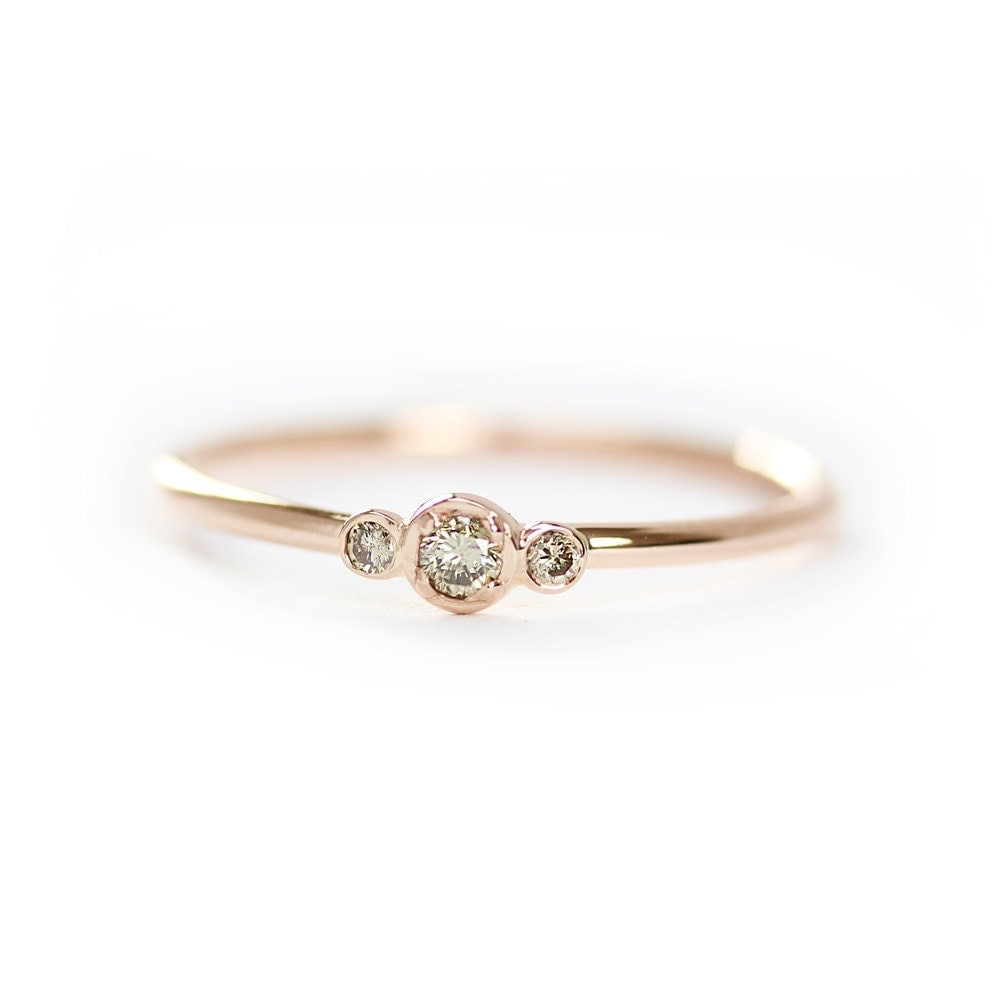 three stone champagne diamond engagement ringthin 3 stone With champagne wedding ring
