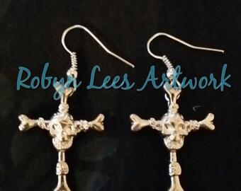 Silver Skull and Cross Bones Earrings with Cross Made of Bones and Skull