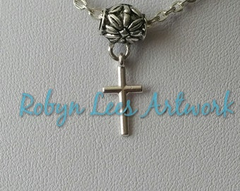 Tiny Silver Cross Crucifix Necklace with Floral Filigree Bail on Silver Crossed Chain, Silver Snake Chain or Black Faux Suede Cord