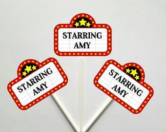 Movie Party Cupcake Toppers - Marquee cupcake toppers - Movie Party Decorations - Name In Lights Cupcake Topper, Hollywood Party, Red Carpet