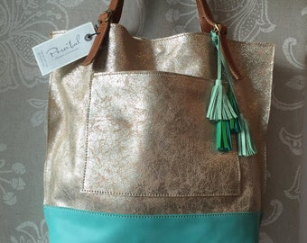 Gold Silver leather tote, womens leather bag, metallic leather bag