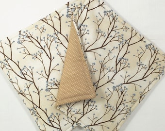 Set of 2 Tan Potholders, Tan Kitchen Decor, Tree Branch Kitchen Decor, Tan Hot Pads, Blue and Tan Potholders, Beige Fabric Pot Holders