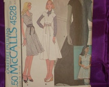 1970s 70s Vintage A Line Dress or Jumper with Flared Skirt in 4 Lengths COMPLETE McCalls Pattern 4528 Bust 36 Inches 92 Metric EASY to Make