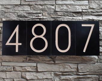 Modern House Numbers - Styx Font in Patina Finish