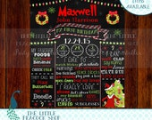 Grinch Chalkboard Birthday sign | Who Birthday Grinchmas Christmas Whoville | Digital and printable 11x14 or 16x20 stats decor sign