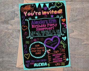 Tween Teen Sleepover  doodle chalkboard birthday invitation  Digital & printable Glow party neon  slumber party  invite