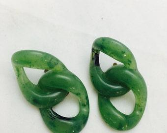 Vintage Jade-Like Figure 8 Loop Clip On Earrings