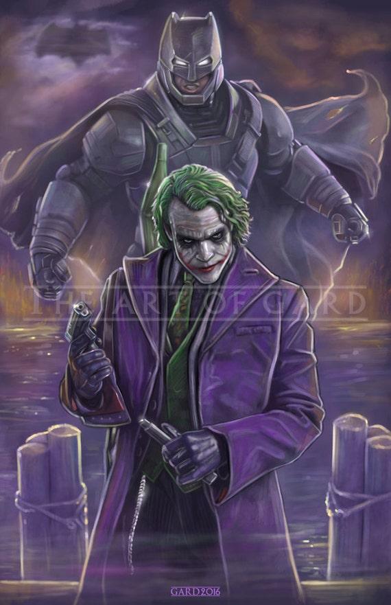 Batman vs. The Joker (Affleck and Ledger) 11X17 Art Print