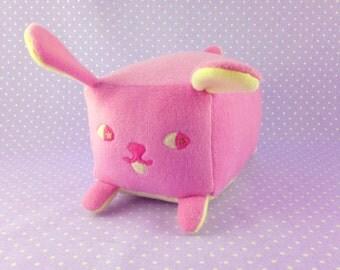 Pink Bunny Plush | Glittery Bunny Loaf Plush | Pink Rabbit Stuffed Animal