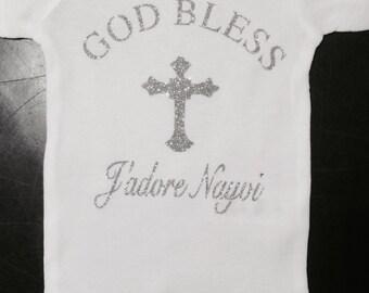 Christening Outfit, Baby Baptism Bodysuit , Christening Baby Bodysuit