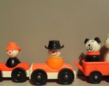 1970s Fisher Price Vintage Fireman Clown ,Cowboy Clown,Dog,Snoopy ,2 Cars, Red Wagon