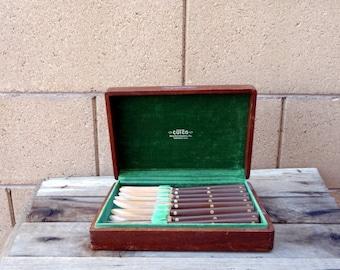 Vintage Cutco 8 Piece Steak Knife Set In Wood Box, #47 Cutco Steak Knife Set, Mid Century Cutco Knife Set, Retro Kitchen