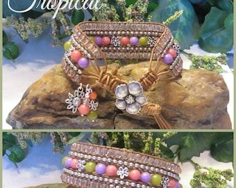 TROPICAL Beaded Leather Wrap Cuff Bracelet, 5 Row Leather Wrap, Leather Cuff Bracelet, Boho Vintage Style Handmade Jewelry, Ravengirl Design