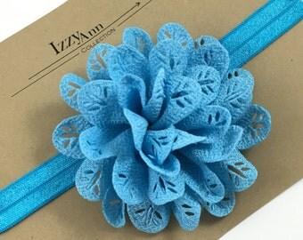 Blue Flower Girl Headband,Baby girl headband,Toddler Headband,Newborn Headband,Blue Flower Hair Clip,Blue Flower girl Headband,Baby Blue Bow