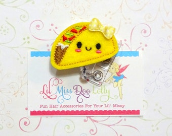 Taco Tuesday ID Badge-Embroidered Felt Badge Reel-Taco Badge- Felt Applique-Retractable ID Badge Holder- Badge Reel Clip (Set of 1)