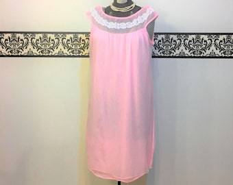 1960's Bubblegum Pink Babydoll Pin Up Boudoir Nightie, Size Large, Size Medium, Vintage Baby Doll Teddy, Baby Negligee, 60's Bridal Teddy