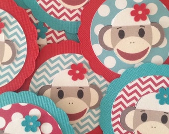 Set of 12 Sock Monkey Cupcake toppers