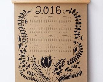 2016 Wall Calendar, Kraft Paper Calendar, Folk Floral Calendar, Boho Wall Calendar, 2016 Calendar Year at a Glance Calendar, Item #009
