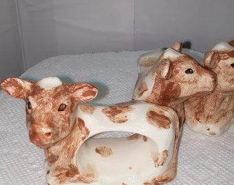 Set of Four Cow Naplkin Rings