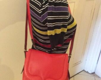 Vintage 60s 70s German Leather Orange Red Hand Shoulder Satchel Bag Lined