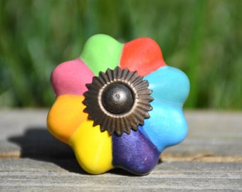 Cabinet knob/ceramic knob/rainbow melon knob/drawer pull/handle/door knob/colorful/unique/decorative/dresser/furniture/childrens/red/blue