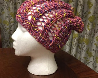 Ribbed Slouchy Beanie in Pink