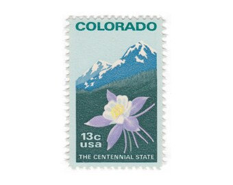 10 Unused Vintage Postage Stamps - 1977 13c Colorado - Item No. 1711