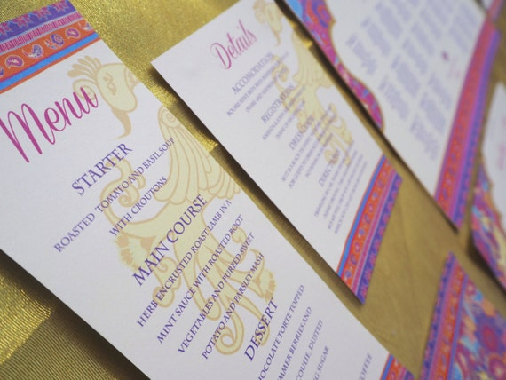 Asian - Wedding - Party - Reception - MENU - Mehndi - Henna - Pink - Gold - Purple - Peacock - Personalized - Printable - PDF - Digital