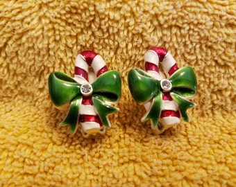 Vintage Metal Clip On Candy Cane Earrings