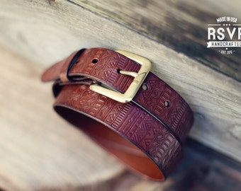 custom leather belt handmade personalized gift brown stain