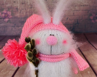 Knitted Bunny with Willow bunch bunny Hand-knit Rabbit pink Amigurumi Bunny Miniature bunny Doll Stuffed Toy Bunny Plush bunny Easter decor