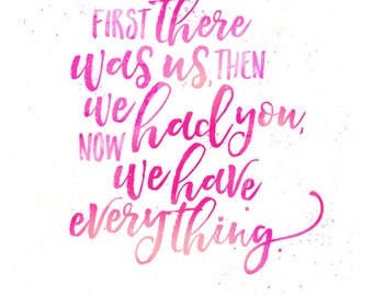 Hand lettering quote, nursery print, pink, watercolour.