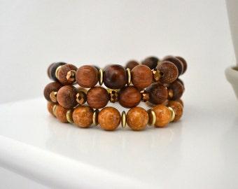 Wooden Beaded Bracelet Set, Beaded Stretch Bracelet Set, Stacking Bracelet, Gift for Her, Elastic Bracelet, Boho Bracelet Set, Wooden Beads
