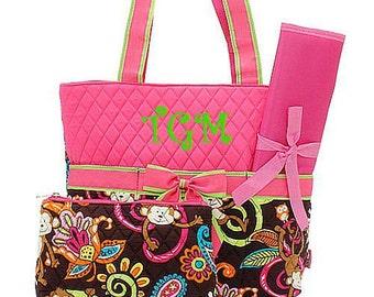 Pink Paisley Monkey Diaper Bag Diaper Bag Monogrammed Diaper Bag  Personalized Diaper Bag for Girl