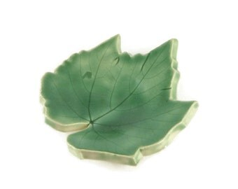 Ceramic Grape Leaf - pottery - Green - ring dish - spoon rest - Forest green