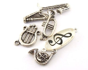 6 Antique Silver Musical Variety