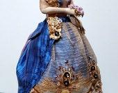 Porcelain Pincushion half doll w/LEGS-11.5 inches tall-Fashion Art Doll- Original Artist Design-Signed&Dated-Collectible Fashion Doll