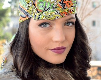 Paisley Neon, Orange, Black, Yellow and Green Headband