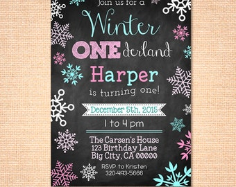 Winter Onederland Invite - Invitation - Digital File - Printable - Pink and Teal - Snowflake - Girl's First Birthday Invitation