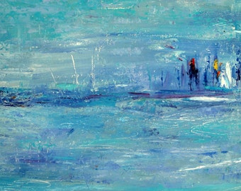 Abstract Seascape Painting.  Oil on Canvas. Size 25 x 40.  Original Painting. Fine Art.