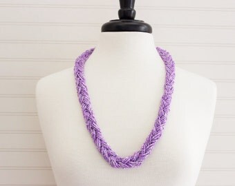 Lilac Braided Beads Long Necklace