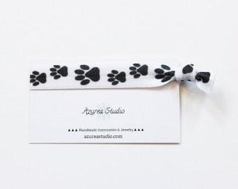 Pet Paws Black White Hair Tie