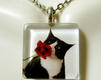 Tuxedo cat with rose profile pendant and chain - CGP01-071